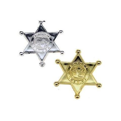 (EINZEL) Cowboy Sheriff Abzeichen Anstecker - Ideal Partei Tasche Füller - Verkleidung Custome Zubehör - 2 Verschiedene Farben