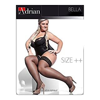 PLUS SIZE HOLD-UPS STOCKINGS BELLA 6 COLOURS 15 DEN size XXXL/XXXXL (7/8) by ADRIAN HOSIERY (RED)
