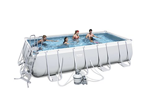 Bestway Power Steel 56390 - Piscina (Montura, Rectangular, PVC, 220 - 240, Filtro de arena, Caja)
