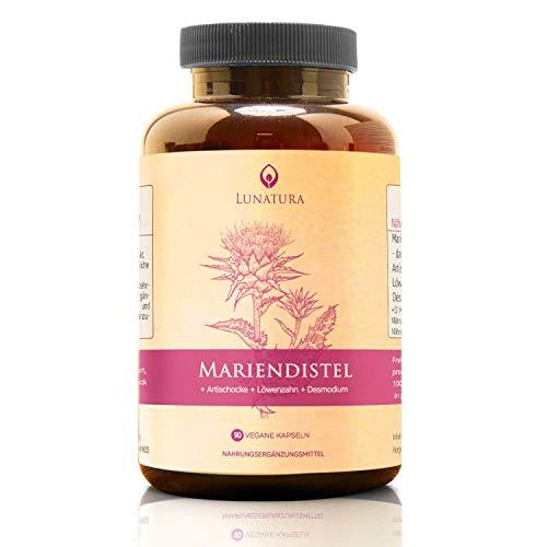 Mariendistel [HOCHDOSIERT] » Mariendistel + Artischocken + Löwenzahn « Bio Verfügbarkeit mit 80% Silymarin - Milk Thistle Extrakt und Artischocke Kur (120 Kapseln vegan)