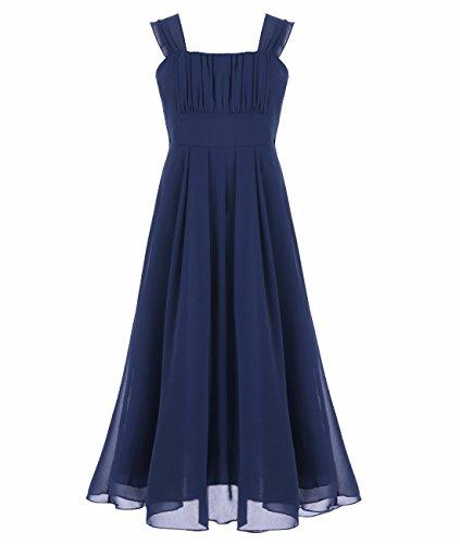 Tiaobug Mädchen Kinder Festliches Kleid Brautjungfer Prinzessin Lange Kleider Hochzeit Festkleid Abendkleid Gr. 104-164 Marine Blau 164
