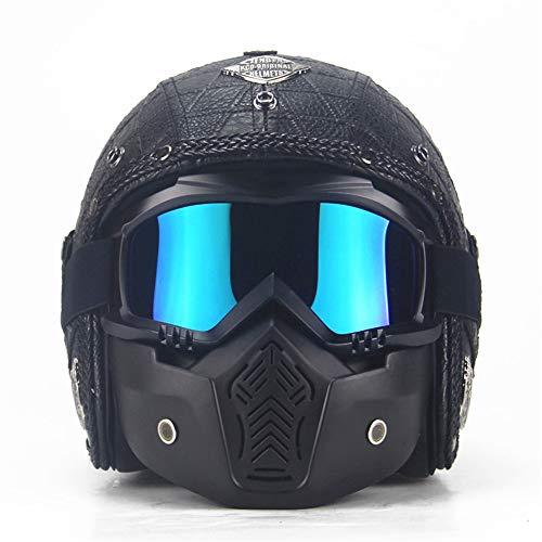 Aihifly Unisex-BMX-Brille Erwachsene Frauen und Mens handgemachte Persönlichkeit Retro Harley Helm Motorrad Helme mit UV-Anti-Fog-Schutzbrille ATV Dirt Bike Helm Moto-Cross Schneemobil Snowboard Ski
