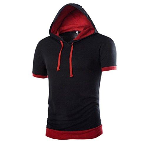 Mens camicia koly_uomo solido di estate degli uomini di moda con cappuccio a maniche corte maglietta casuale (l, black)