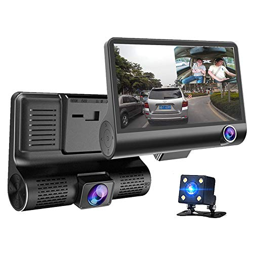 to DVR 3 Kameras Objektiv 4.0 Zoll Dash Kamera Dual Objektiv Mit Rückfahrkamera Video Recorder Auto Registrator DVR Dash Cam Bewegungserkennung Einparkhilfe ()