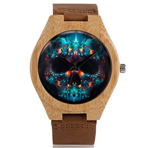 DYH&WW Uhren Einzigartige Halloween schädel Holz Uhr Herren geheimnisvollen Stil Quarz Armbanduhr Geschenk