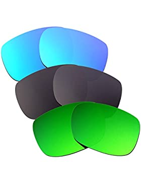 Hkuco Plus Mens Replacement Lenses For Oakley TwoFace Blue/Black/Emerald Green Sunglasses