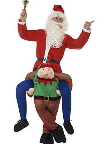 Karnevalsbud - Herren Männer Kostüm Huckepack Nikolaus Weihnachtsmann auf Kobold Elf, Piggyback Elf and Santa Claus, perfekt für Weihnachten Karneval und Fasching, One Size, Rot (Kobold Kostüm Männer)