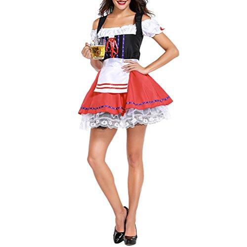 (Zhuhaitf Bier Bar Kellner Service Deutsch Karneval Anzug Mädchen Rolle Spielen Halloween Cosplay Oktoberfest Kostüm)