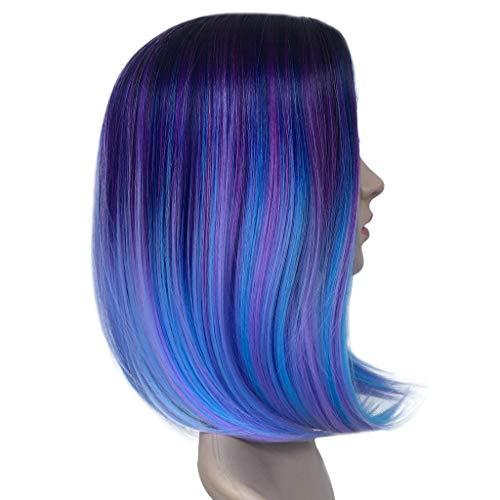 Perücke Wig Bunt Damen Hair Cosplay Anime Human Langhaar Brazilian Synthetic Lockige Lang Wavy