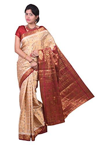 Mimosa Women Kanchipuram Art Silk Saree with Blouse (3024-13-Hlfwhite-Marun,  Off-White)