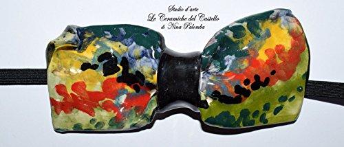 Fliege Keramik Modern Linie Italien Piece Unique Hergestellt und von Hand bemalt Le Ceramiche del Castello Made in Italy Maße: 10 x 5 cm.