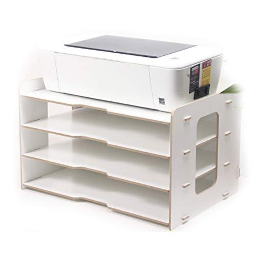 ZHANGLIXIANG WJG Desktop-4-Schicht-Datei-Halter, Holz-Multi-Layer-Büro Bücherregal A3 Papier Aufbewahrungsbox Informationsbox A4 Druckerrahmen (Farbe : C)