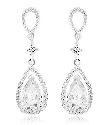 Ornami Sterling Silver CZ Large Teardrop Chandelier Style Drop Earring