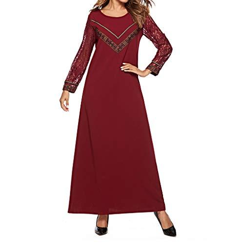 Lucky Mall Frauen Volltonfarbe Rundhals Islamische Ramadan Robe, Damen Mode Spitzen Lange Ärmel Kleid Mittlerer Osten Saudi Arabisch Traditionell Kleidung Muslimische ()