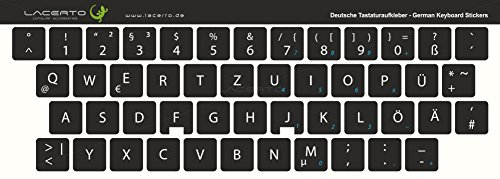 Lacerto®   14x14mm Deutsche Tastaturaufkleber für PC & Laptop, mit mattem Schutzlaminat   Farbe: Schwarz