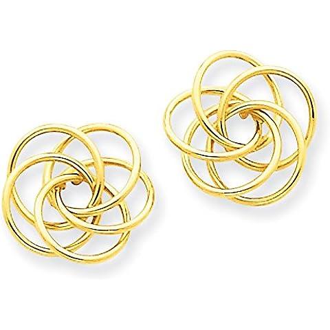 14K oro lucido orecchini nodo d' amore–Misure 12x 12mm