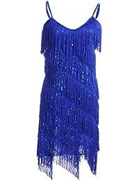 e0850ca9d140 Anna-Kaci Womens Fringe Sequin Strap Backless 1920s Flapper Party Mini Dress