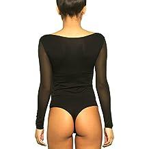Kefali String Body Damen Sport Unterhemden Mit String Einteiler Schwarz S M L Xl Damenunterwäsche