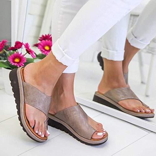 Womdee Frauen Bequeme Plattform Sandale Schuhe, [2019 neu] PU Leder Keilabsatz Sandalen mit Zehenbogen Unterstützung Sommer Strand Reise Schuhe Mode Sandalen Komfortable Damenschuhe Khaki CN 39