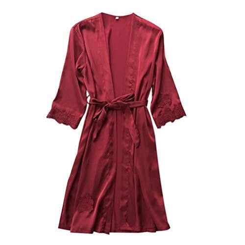 Manadlian Damen Perspektive Bademantel Dessous Frau Die Seide Spitze Robe Kleid Puppe Nachthemd Nachtwäsche Kimono