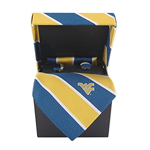 NCAA West Virginia Mountaineers Mens Woven Silk Repp Stripe Collegiate