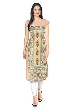 Ziyaa Women's Straight Fit Synthetic Kurta (ZIKUCR060-Multi-S-multicoloured-S)