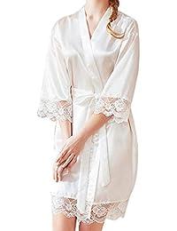 Hibote Mujer Corto Traje de Novia Vestido de Novia Sexy Bata de Encaje Kimono Albornoz Dama