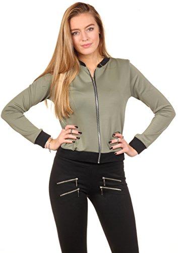 Loomiloo classic style bomber veste de mi-saison veste d'université noir col rond plusieurs coloris disponibles - Pistache