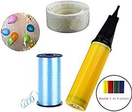 Party Propz 1- Balloon Pump, 100 Glue dot with 500m Ribbon Decoration Material