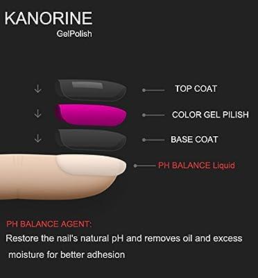Kanorine Nail Gel Polish Base Coat + No Wipe Top Coat Soak Off UV LED Lamp Varnish Manicure 15ml 2PCS