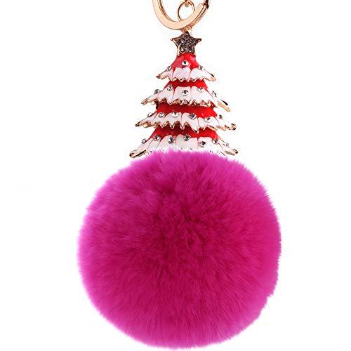ISAAC ENGLAND Kreative Weihnachtsbaum Haar Ball Anhänger Schlüsselbund Punkt Diamant Schmuck Senden Freunde 2 Stücke
