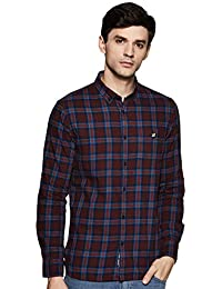 Amazon Brand - House & Shields Men's Checkered Slim fit Casual Shirt