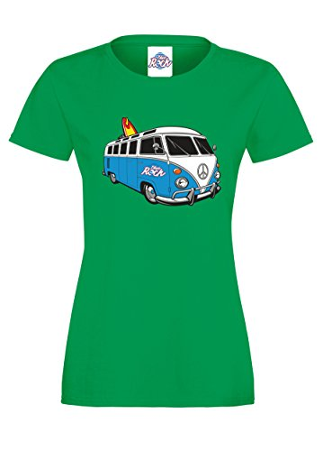 Blue-Rock-Womens-Fitted-VW-Style-Surf-Camper-Van-Blue-Printed-T-Shirt-LT1