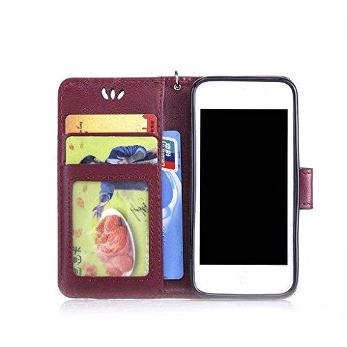 iPhone 6/iPhone 6S Custodia + libero protezione per lo schermo in vetro temperato, boxtii® PU Custodia a portafoglio in pelle con laccio [] per Apple Iphone 6s/iphone 6, Golden Butterfly Design elegan #5 Butterfly