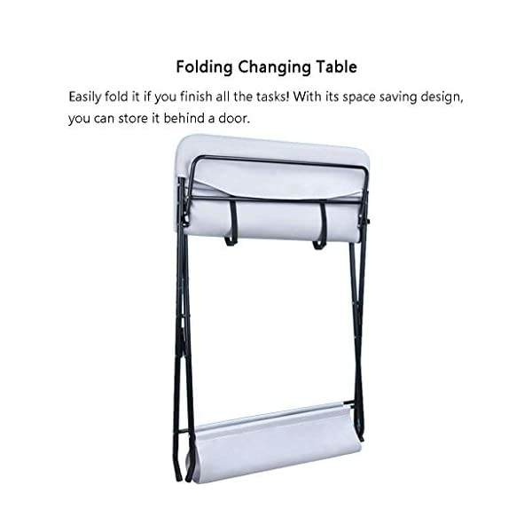 Folding Baby Changing Table for Small Spaces, Portable Nursery Infant Diaper Massage Station Dresser for Household Travel, Grey, 0-2 Years Old (color : B) AA-SS-Changing Table Stable Construction: Sturdy metal frame keep the table stable. While the other part is made of durable and wearable Oxford cloth. Folding: Easily fold it if you finish all the tasks! With its space saving design, you can store it behind a door. Large Storage Space: Equipped with 3 compartments aside the table, you can place soaps, towels and any other accessories conveniently. 4
