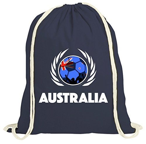 Australia Soccer Fussball WM Fanfest Gruppen Fan natur Turnbeutel Gym Bag Fußball Australien dunkelblau natur