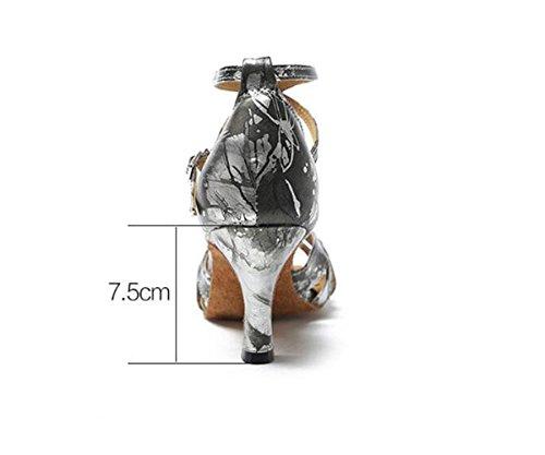 SQIAO-X- Scarpe Da Ballo Fondo Morbido, Testa Tonda È Un Non-Slip Basso Latino Danza Sulla Piazza Di Danza Danza Scarpe Da Ballo Grigio (7.5cm)