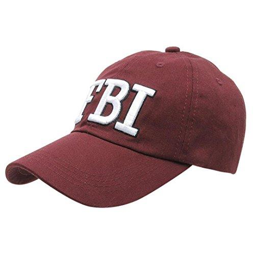 UFACE Kappe Baseballmütze Frauen Männer Denim Baseball Cap Snapback Hip Hop Flachen Hut (Rot)