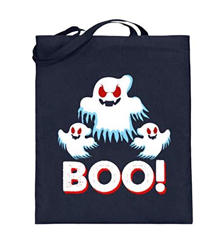 EBENBLATT Boo! Ghost Geist Grusel Halloween Angst rote Augen Kostüm Horror Hexe Kürbis Geschenk - Jutebeutel (mit langen Henkeln) (Geist Kostüm Augen)