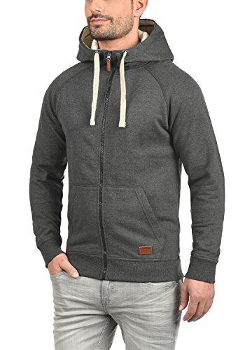 BLEND Speedy Herren Sweatjacke Zip-Hoodie mit Kapuze und optionalem Teddy-Futter aus einer hochwertigen Baumwollmischung Meliert Charcoal (70818)