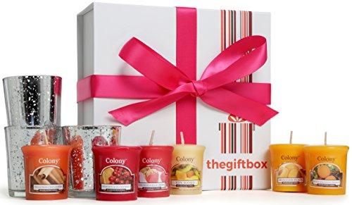 Juego de velas aromáticas de lujo de The Gift Box, para regalo Consta de 8diferentes velas con aroma y 3 portavelas de cristal metálicos (Sungaze).