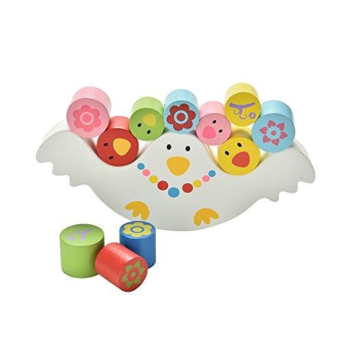 Natureich Möwe – Stapel Spielzeug aus Holz Montessori Turm zum Stapeln & Balancieren von Blöcken in Bunt ab 3 Jahre für die frühe Geschicklichkeit Entwicklung Ihres Kindes