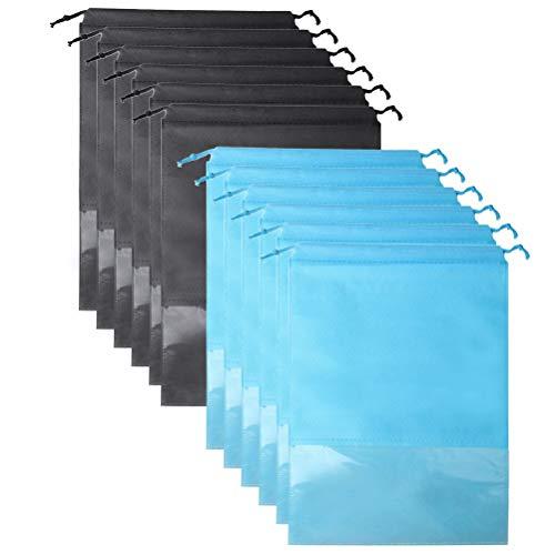 Nuosen 12 borse da viaggio per scarpe, grande organizer per scarpe in tessuto non tessuto, con finestra trasparente e coulisse, portachiavi a forma di panda (blu, nero)