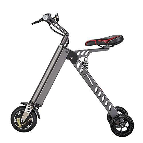 Elektrofahrräder Mini Electric Bikes Mode & Smart Electronic Vehicle Scooter Elektromobilität Tricycle Faltbare & tragbare elektrische Fahrrad (Grau)