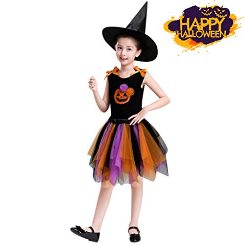 (Halloweenkostüm für Mädchen,Kinder Halloween Hexe Kostüm Halloween Karneval Party Cosplay Outfits Set/ Hexe Kleid + Hexe Kappe + Hexe Tops (Orange, 8~10 Jahr Alt))