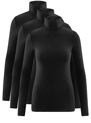 oodji Ultra Damen Langarmshirt Basic mit Rollkragen (3er-Pack) Schwarz (2900N)
