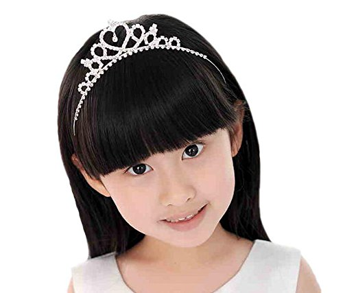 Girl Kostüm Charming - Girl 's Strass Prinzessin Krone in Herz Haarband Brautschmuck Tiara Party mit Kopfbedeckungen Stirnband Zubehör für Mädchen Kinder, Silber