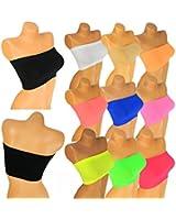 Damen Bandeau Neon Farben Top Body Sport Bh GoGo trägerlos Bustier bt1