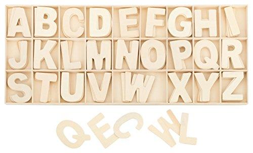 Buchstabenkasten Holz Natur - 5,4 cm hoch - je 4 hölzerne Buchstaben - 104 Teile