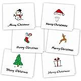 Kuuqa 36 pièces Joyeux Noël Cartes de vœux Cartes de vœux avec des enveloppes et des autocollants, 4,72 x 7,87 pouces